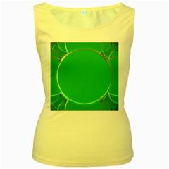 Green Circle Fractal Frame Women s Yellow Tank Top by Simbadda