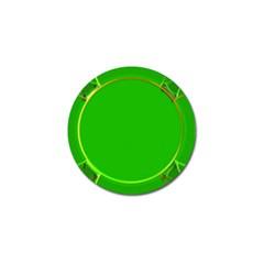 Green Circle Fractal Frame Golf Ball Marker (4 Pack) by Simbadda