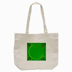 Green Circle Fractal Frame Tote Bag (cream) by Simbadda