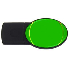 Green Circle Fractal Frame Usb Flash Drive Oval (4 Gb) by Simbadda