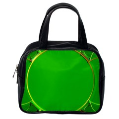 Green Circle Fractal Frame Classic Handbags (one Side) by Simbadda