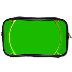 Green Circle Fractal Frame Toiletries Bags 2 Side by Simbadda