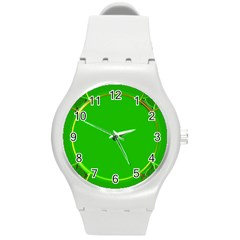 Green Circle Fractal Frame Round Plastic Sport Watch (m) by Simbadda