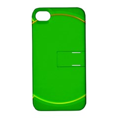 Green Circle Fractal Frame Apple Iphone 4/4s Hardshell Case With Stand by Simbadda