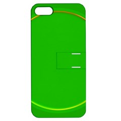 Green Circle Fractal Frame Apple Iphone 5 Hardshell Case With Stand by Simbadda