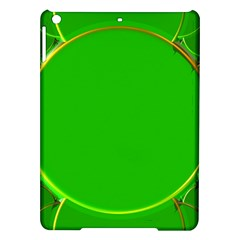 Green Circle Fractal Frame Ipad Air Hardshell Cases by Simbadda