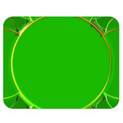 Green Circle Fractal Frame Double Sided Flano Blanket (medium)  by Simbadda
