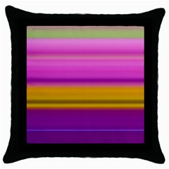 Stripes Colorful Background Colorful Pink Red Purple Green Yellow Striped Wallpaper Throw Pillow Case (black) by Simbadda