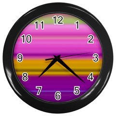 Stripes Colorful Background Colorful Pink Red Purple Green Yellow Striped Wallpaper Wall Clocks (black) by Simbadda