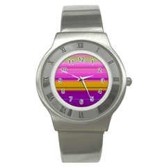 Stripes Colorful Background Colorful Pink Red Purple Green Yellow Striped Wallpaper Stainless Steel Watch by Simbadda