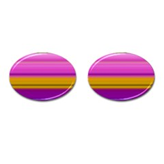 Stripes Colorful Background Colorful Pink Red Purple Green Yellow Striped Wallpaper Cufflinks (oval) by Simbadda