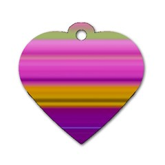 Stripes Colorful Background Colorful Pink Red Purple Green Yellow Striped Wallpaper Dog Tag Heart (one Side) by Simbadda