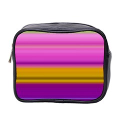 Stripes Colorful Background Colorful Pink Red Purple Green Yellow Striped Wallpaper Mini Toiletries Bag 2 Side by Simbadda