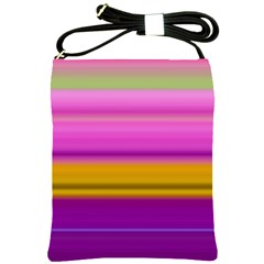 Stripes Colorful Background Colorful Pink Red Purple Green Yellow Striped Wallpaper Shoulder Sling Bags by Simbadda