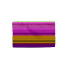 Stripes Colorful Background Colorful Pink Red Purple Green Yellow Striped Wallpaper Cosmetic Bag (xs) by Simbadda