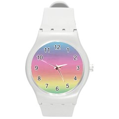 Watercolor Paper Rainbow Colors Round Plastic Sport Watch (m) by Simbadda