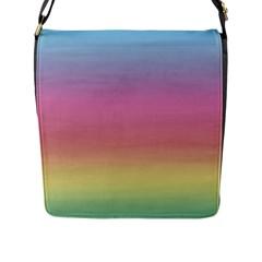 Watercolor Paper Rainbow Colors Flap Messenger Bag (l)