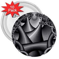 Grey Fractal Background With Chains 3  Buttons (10 Pack)  by Simbadda