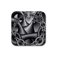 Grey Fractal Background With Chains Rubber Square Coaster (4 Pack)  by Simbadda
