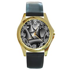 Grey Fractal Background With Chains Round Gold Metal Watch by Simbadda