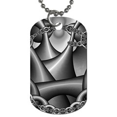 Grey Fractal Background With Chains Dog Tag (two Sides) by Simbadda