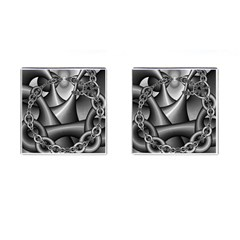 Grey Fractal Background With Chains Cufflinks (square) by Simbadda