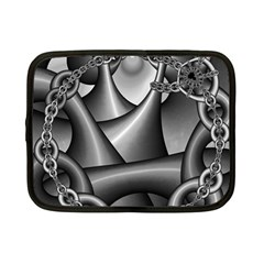 Grey Fractal Background With Chains Netbook Case (small)  by Simbadda