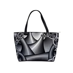Grey Fractal Background With Chains Shoulder Handbags by Simbadda