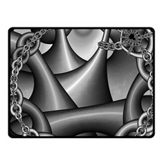 Grey Fractal Background With Chains Fleece Blanket (small) by Simbadda