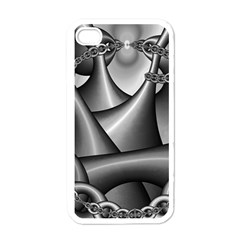 Grey Fractal Background With Chains Apple Iphone 4 Case (white)