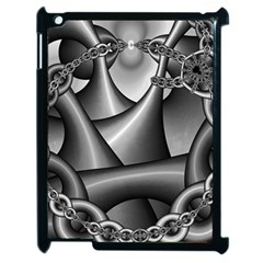 Grey Fractal Background With Chains Apple Ipad 2 Case (black) by Simbadda