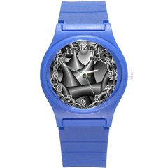 Grey Fractal Background With Chains Round Plastic Sport Watch (s) by Simbadda