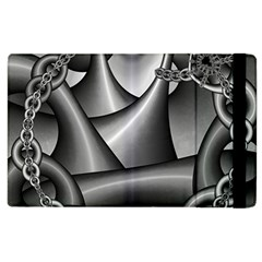 Grey Fractal Background With Chains Apple Ipad 2 Flip Case by Simbadda