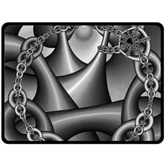 Grey Fractal Background With Chains Double Sided Fleece Blanket (large)  by Simbadda