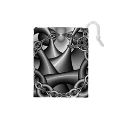 Grey Fractal Background With Chains Drawstring Pouches (small)  by Simbadda