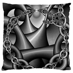 Grey Fractal Background With Chains Large Flano Cushion Case (two Sides) by Simbadda