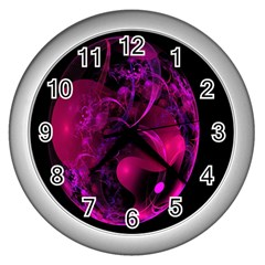 Fractal Using A Script And Coloured In Pink And A Touch Of Blue Wall Clocks (silver)  by Simbadda