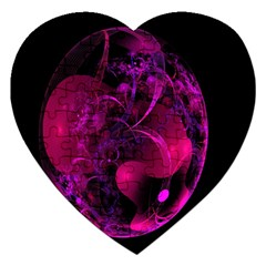 Fractal Using A Script And Coloured In Pink And A Touch Of Blue Jigsaw Puzzle (heart) by Simbadda