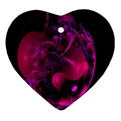 Fractal Using A Script And Coloured In Pink And A Touch Of Blue Heart Ornament (two Sides) by Simbadda