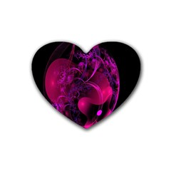 Fractal Using A Script And Coloured In Pink And A Touch Of Blue Rubber Coaster (heart)  by Simbadda