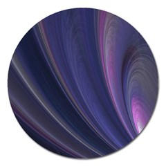 A Pruple Sweeping Fractal Pattern Magnet 5  (round) by Simbadda
