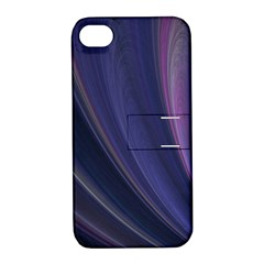 A Pruple Sweeping Fractal Pattern Apple Iphone 4/4s Hardshell Case With Stand by Simbadda