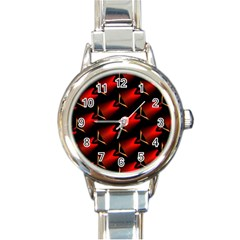 Fractal Background Red And Black Round Italian Charm Watch by Simbadda