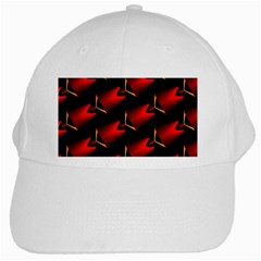 Fractal Background Red And Black White Cap by Simbadda