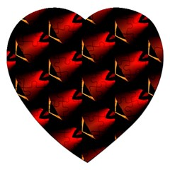 Fractal Background Red And Black Jigsaw Puzzle (heart) by Simbadda