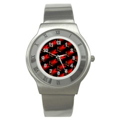 Fractal Background Red And Black Stainless Steel Watch by Simbadda