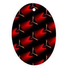 Fractal Background Red And Black Oval Ornament (two Sides) by Simbadda