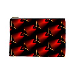 Fractal Background Red And Black Cosmetic Bag (large)  by Simbadda