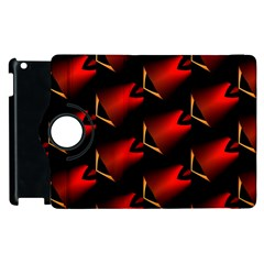 Fractal Background Red And Black Apple Ipad 3/4 Flip 360 Case by Simbadda