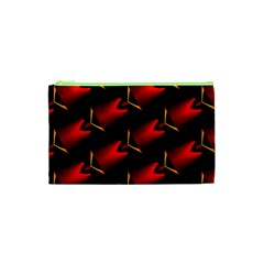Fractal Background Red And Black Cosmetic Bag (xs) by Simbadda